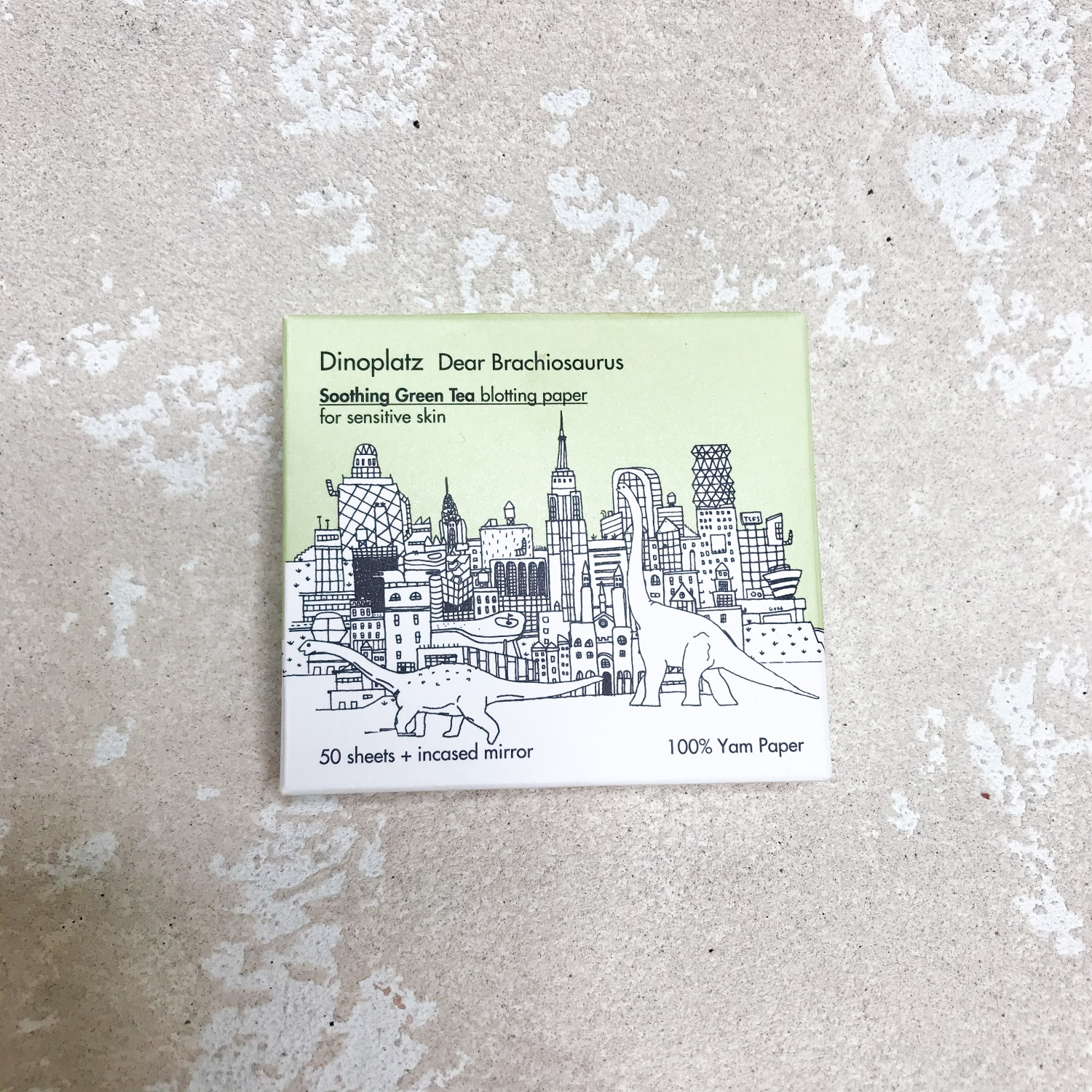 Too Cool For School Dinoplatz Dear Brachiosaurus Soothing Green Tea Blotting Paper