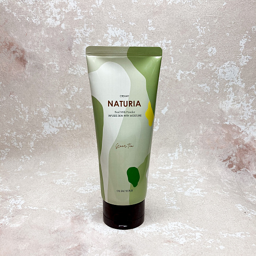 Naturia Creamy Oil Salt Scrub Green Tea